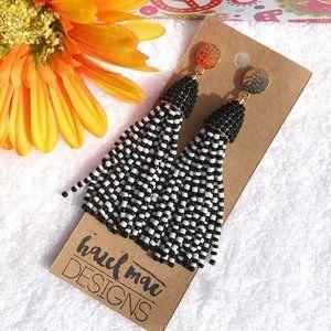 Boho Earrings Tassel Bead Drop Posts Black & White